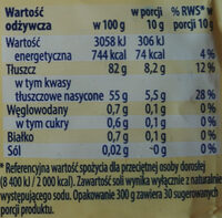 Masło osełkowe extra - Wartości odżywcze - pl