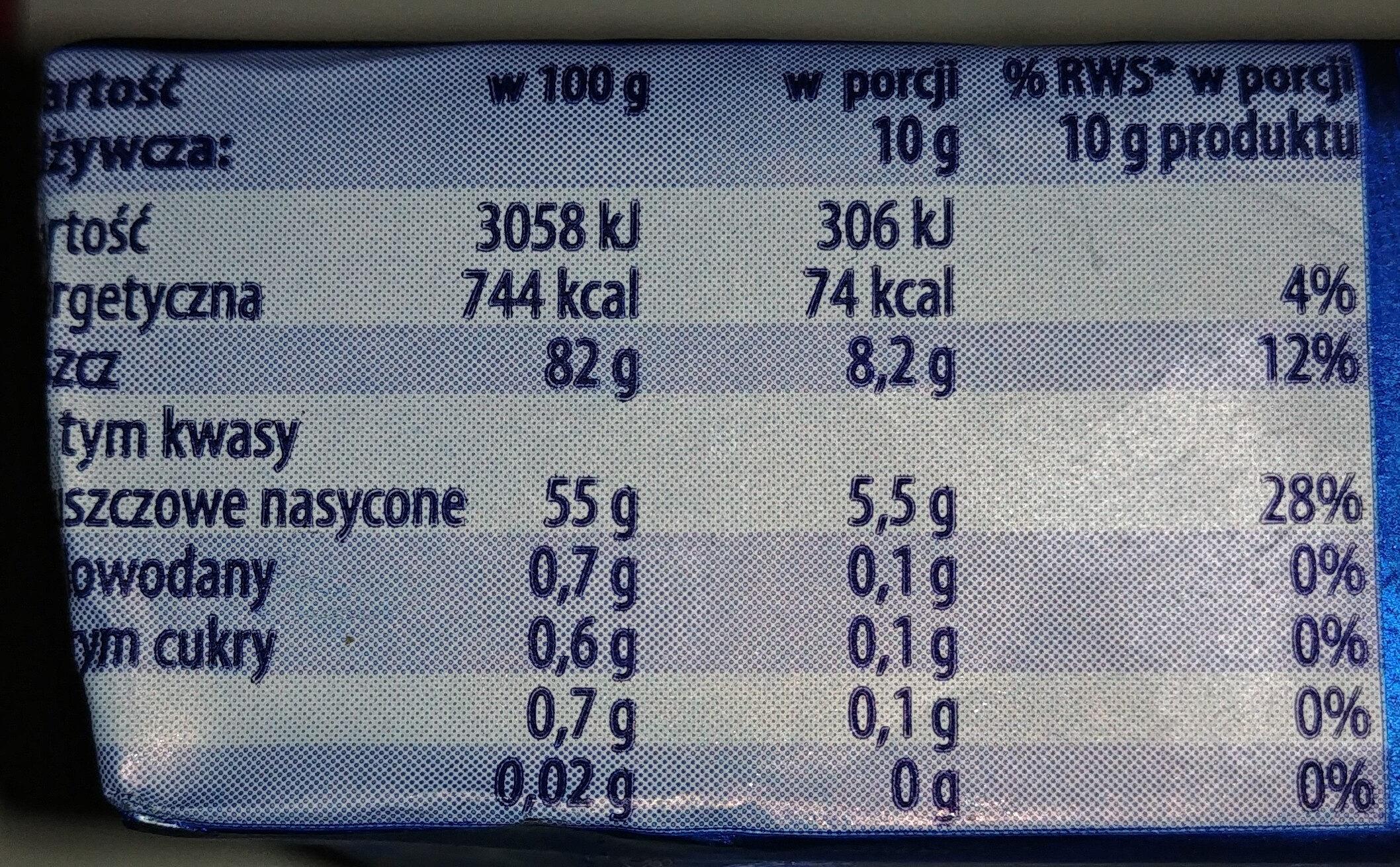 Masło extra - Wartości odżywcze - pl
