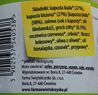 Bio kapusta z grochem - Składniki - pl