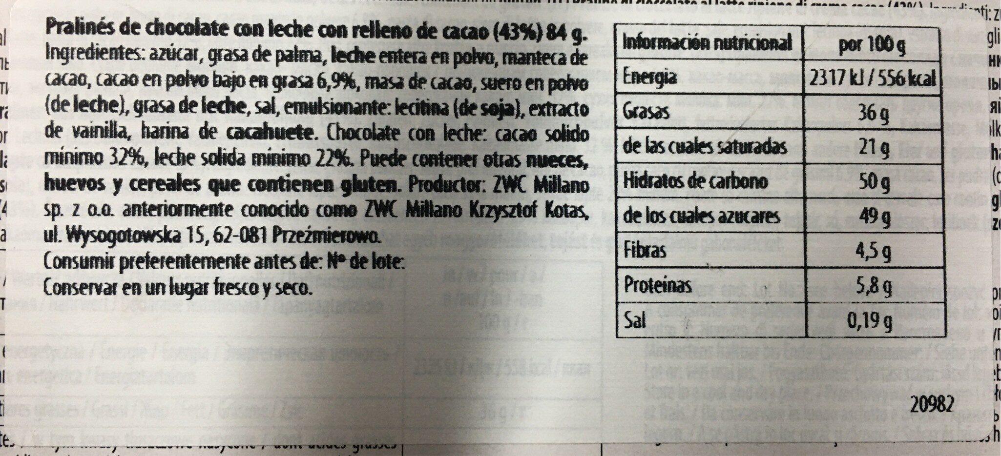 Xocolate - Informations nutritionnelles - es