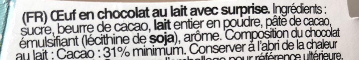 Les Minions - Œuf en Chocolat au Lait avec une Surprise - Ingredients - fr