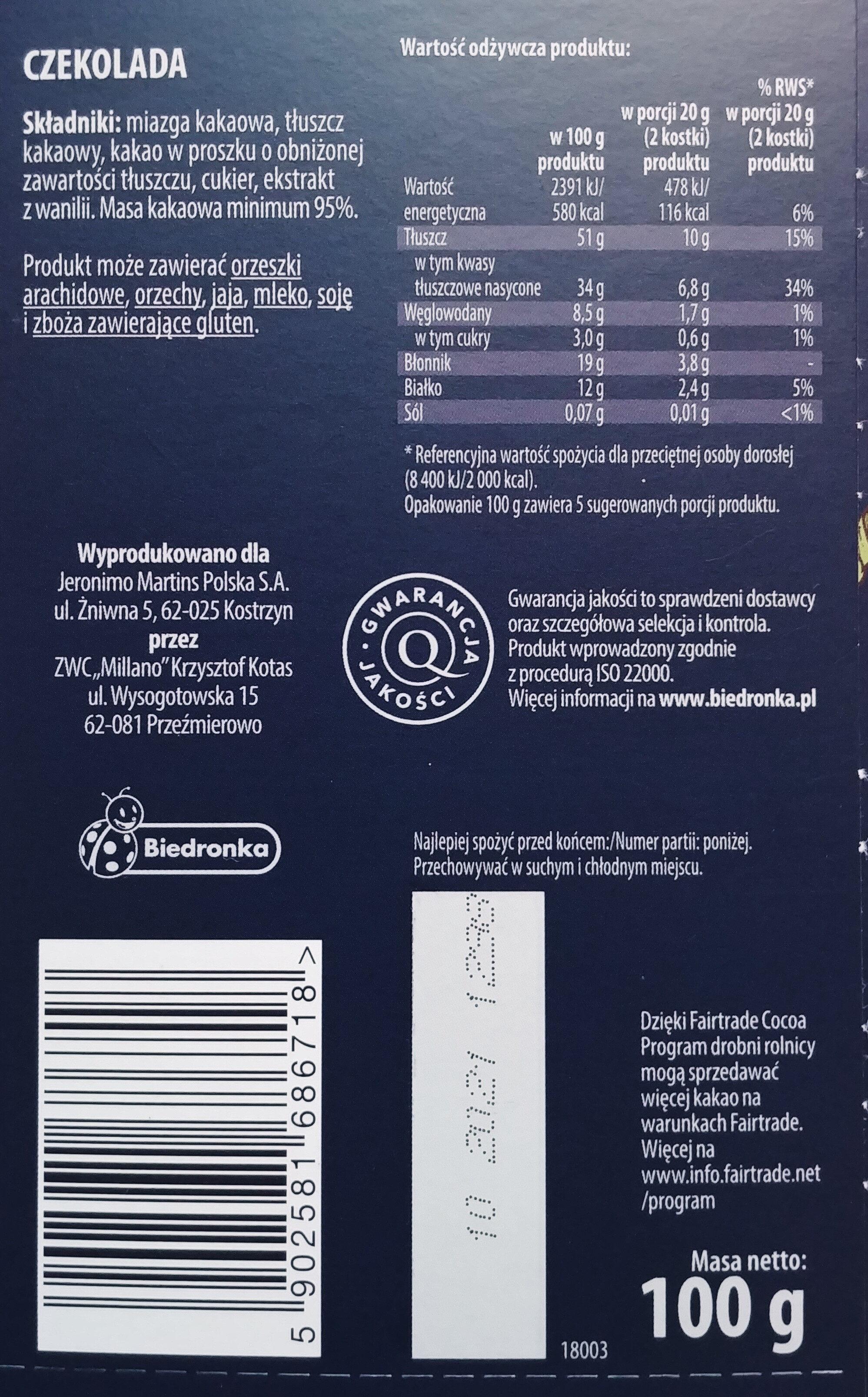 Czekolada gorzka 95% kakao - Ingredients - pl