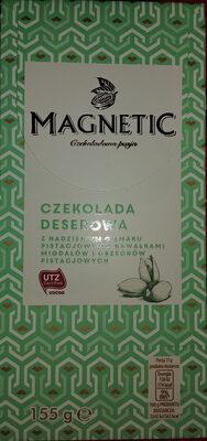 Czekolada deserowa z nadzieniem o smaku pistacjowym z kawałkami migdałów i orzechów pistacjowych - Produit