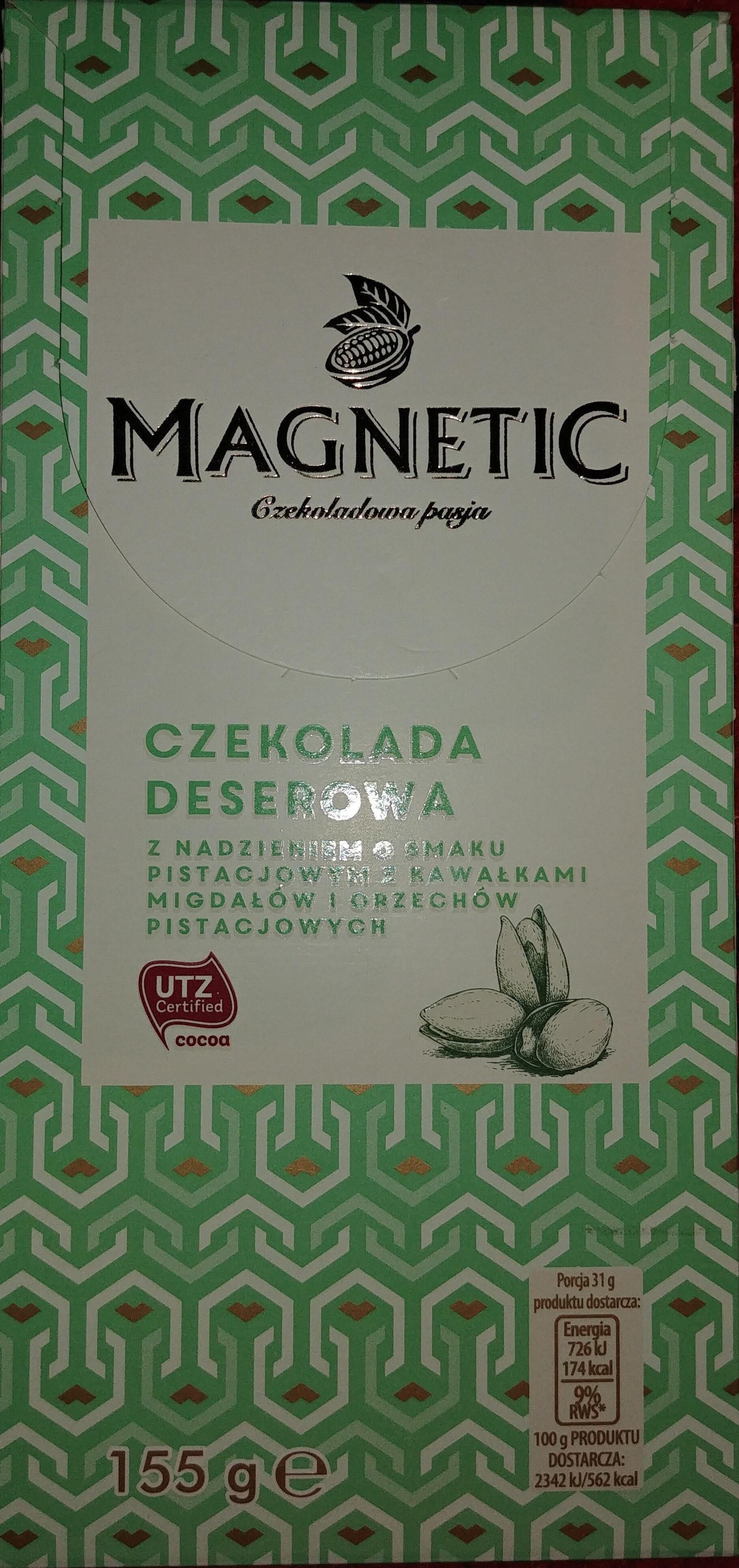 Czekolada deserowa z nadzieniem o smaku pistacjowym z kawałkami migdałów i orzechów pistacjowych - Produkt