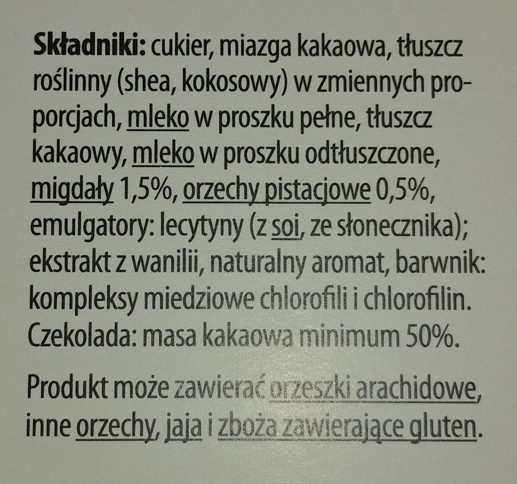 Czekolada deserowa z nadzieniem o smaku pistacjowym z kawałkami migdałów i orzechów pistacjowych - Składniki