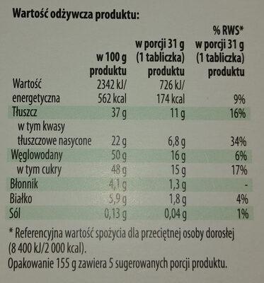 Czekolada deserowa z nadzieniem o smaku pistacjowym z kawałkami migdałów i orzechów pistacjowych - Informations nutritionnelles