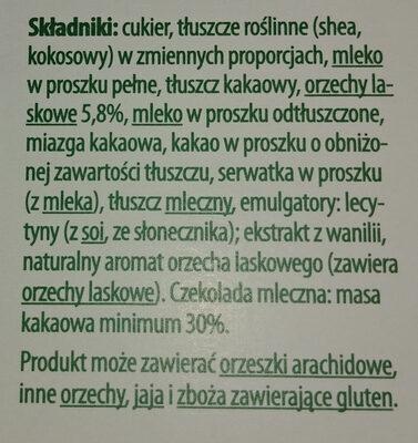 Czekolada mleczna z nadzieniem orzechowym i kawałkami orzechów laskowych - Składniki