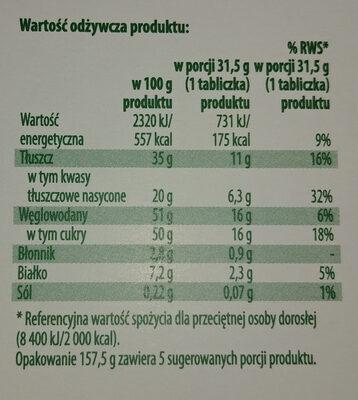 Czekolada mleczna z nadzieniem orzechowym i kawałkami orzechów laskowych - Informations nutritionnelles