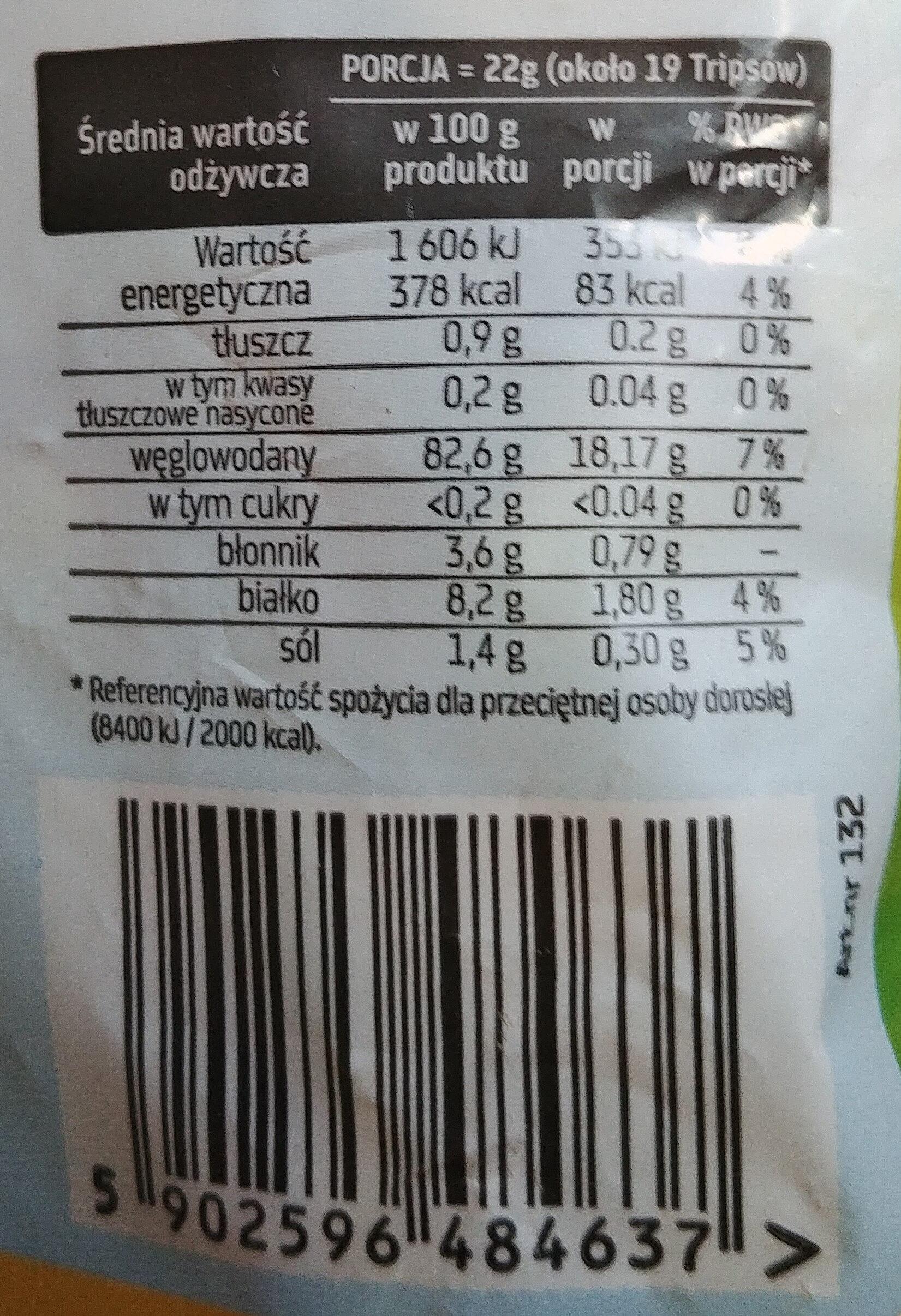Wafelki kukurydziane - Wartości odżywcze
