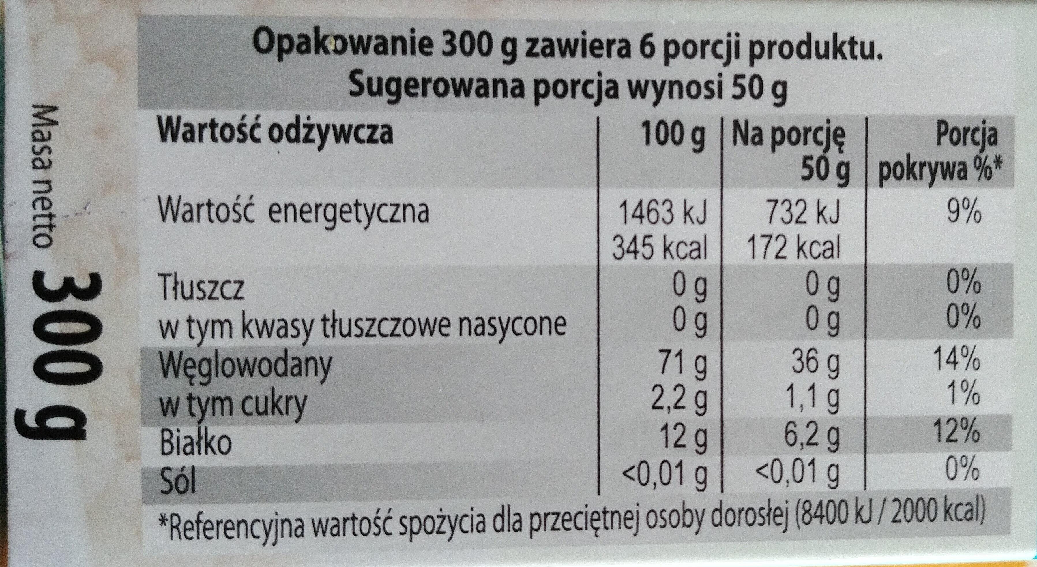 Błyskawiczna kasza z pszenicy twardej - Informations nutritionnelles