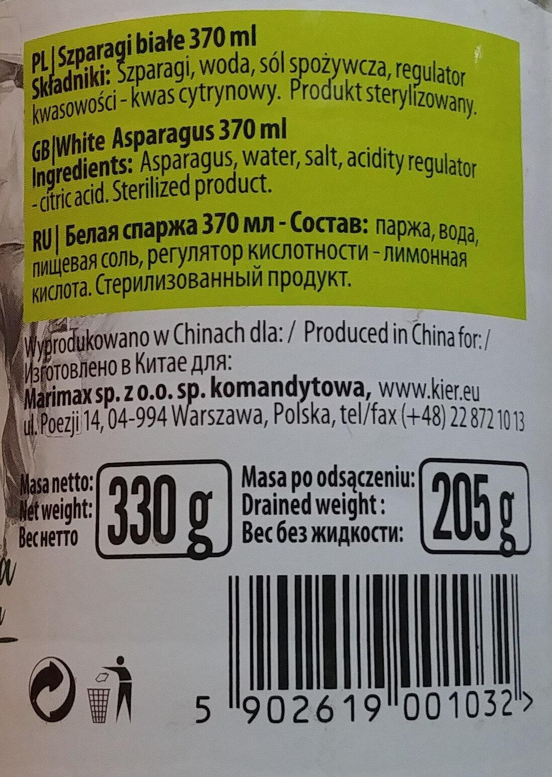 Szparagi białe - Składniki - pl