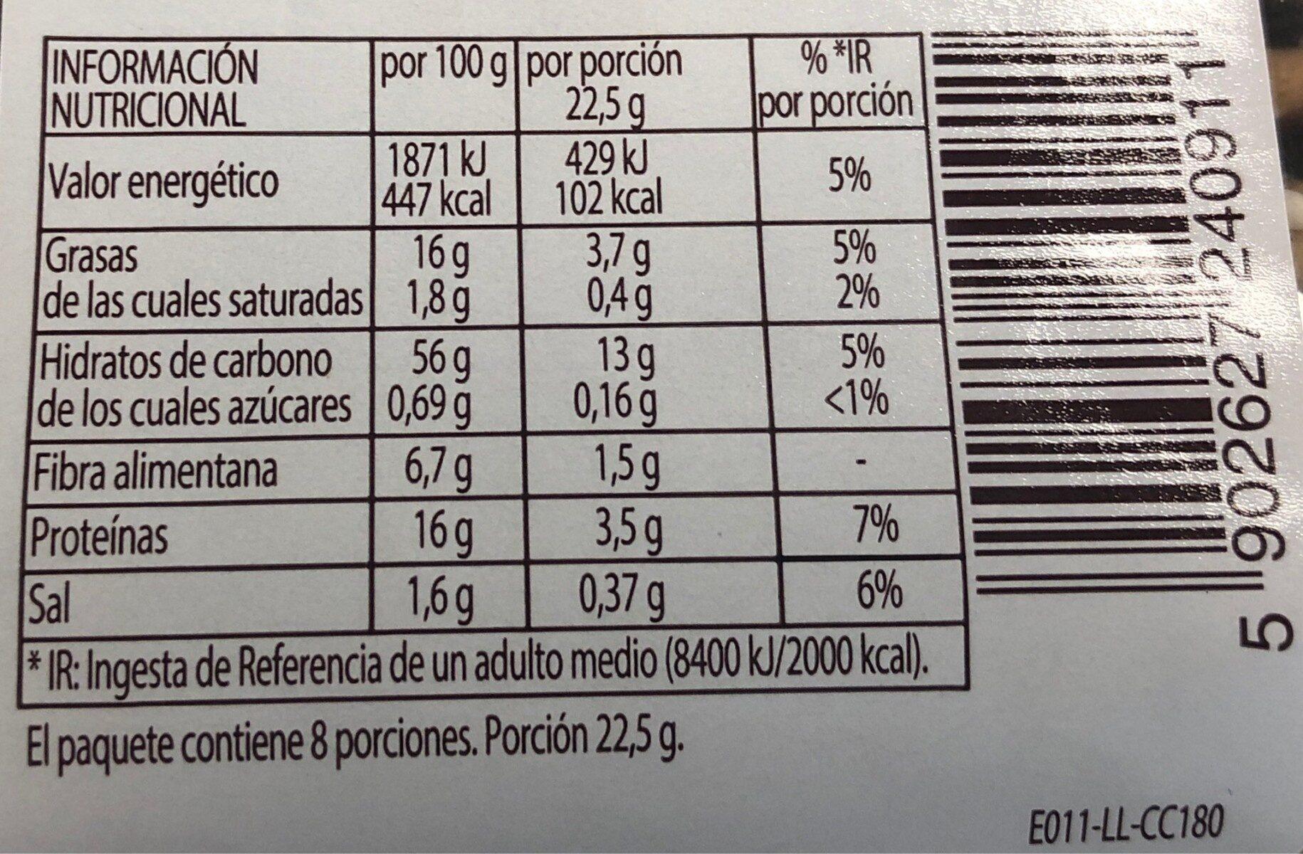 Pan crujiente con 3 semillas - Informació nutricional - es