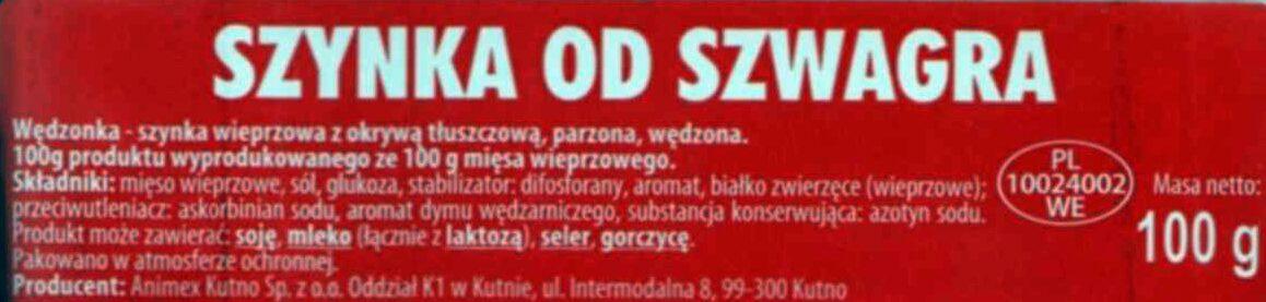 Szynka od Szwagra - Ingrédients - pl