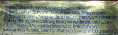 Miks tłuszczowy do smarowania 76% - Składniki - pl