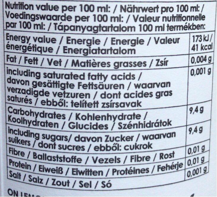 On' Lemon Black Currant - Voedingswaarden - fr