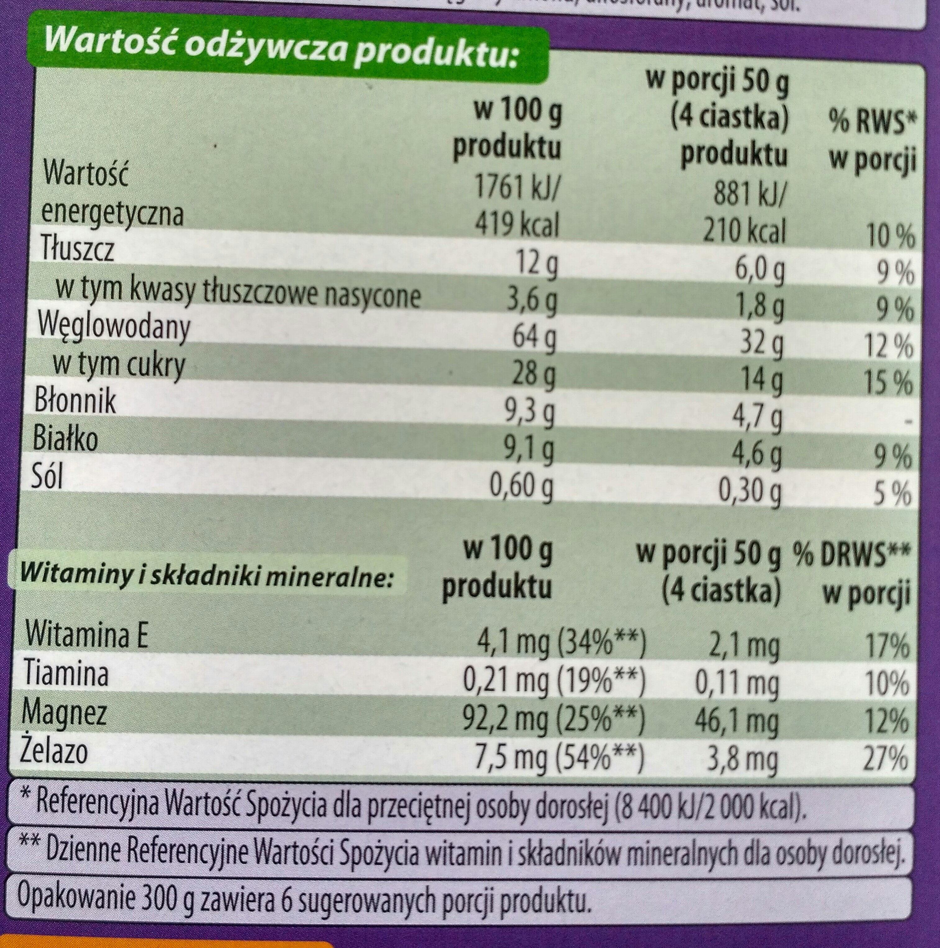 Ciastka czekolada zboża - Wartości odżywcze - pl