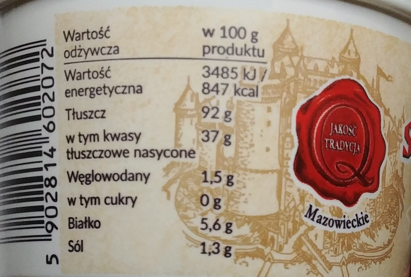 Smalec staropolski ze skwarkami - Nutrition facts - pl