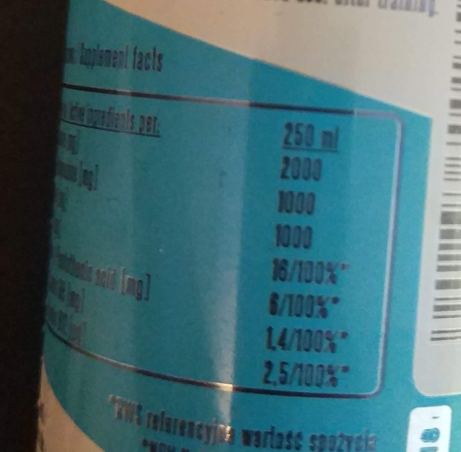 BCAA Power Drink - Nutrition facts