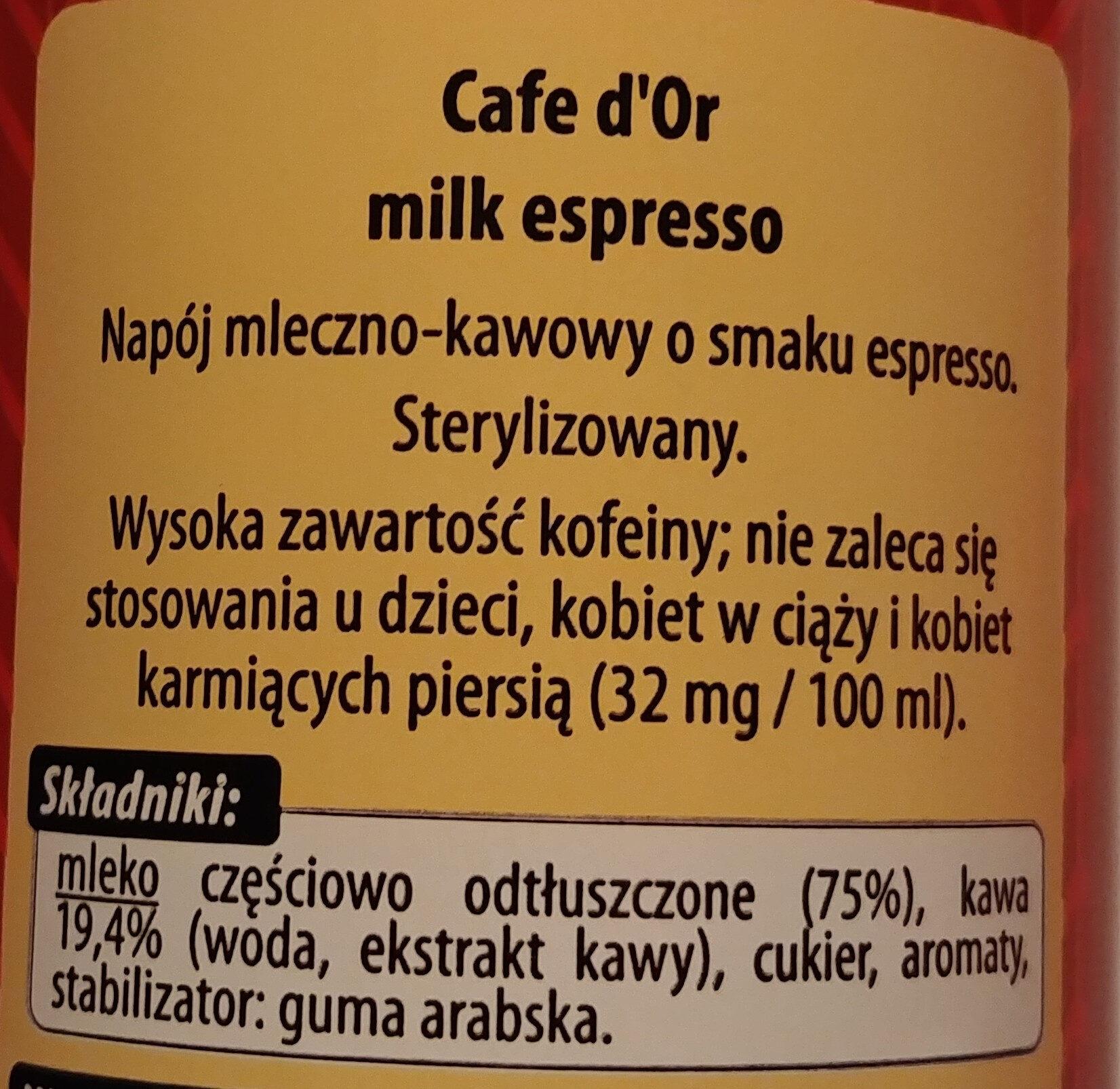 Napój mleczno-kawowy o smaku espresso. - Ingredients - pl