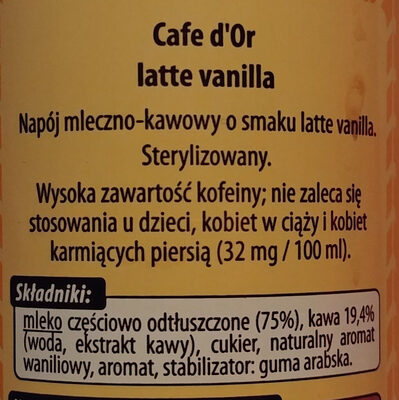 Napój mleczno-kawowy o smaku latte vanilla. - Składniki