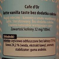 Napój mleczno-kawowy o smaku waniliowego latte. - Ingredients - pl