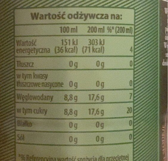 Schweppes ginger ale - Valori nutrizionali - pl
