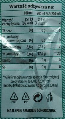 Napój gazowany o smaku imbirowym - Wartości odżywcze - pl