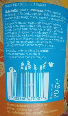 Owsianka kokos i ananas - Składniki