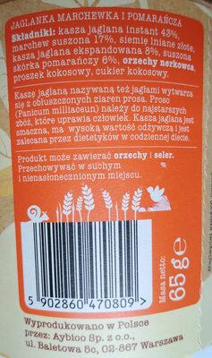 Jaglanka Marchewka i Pomarańcza - Ingredients