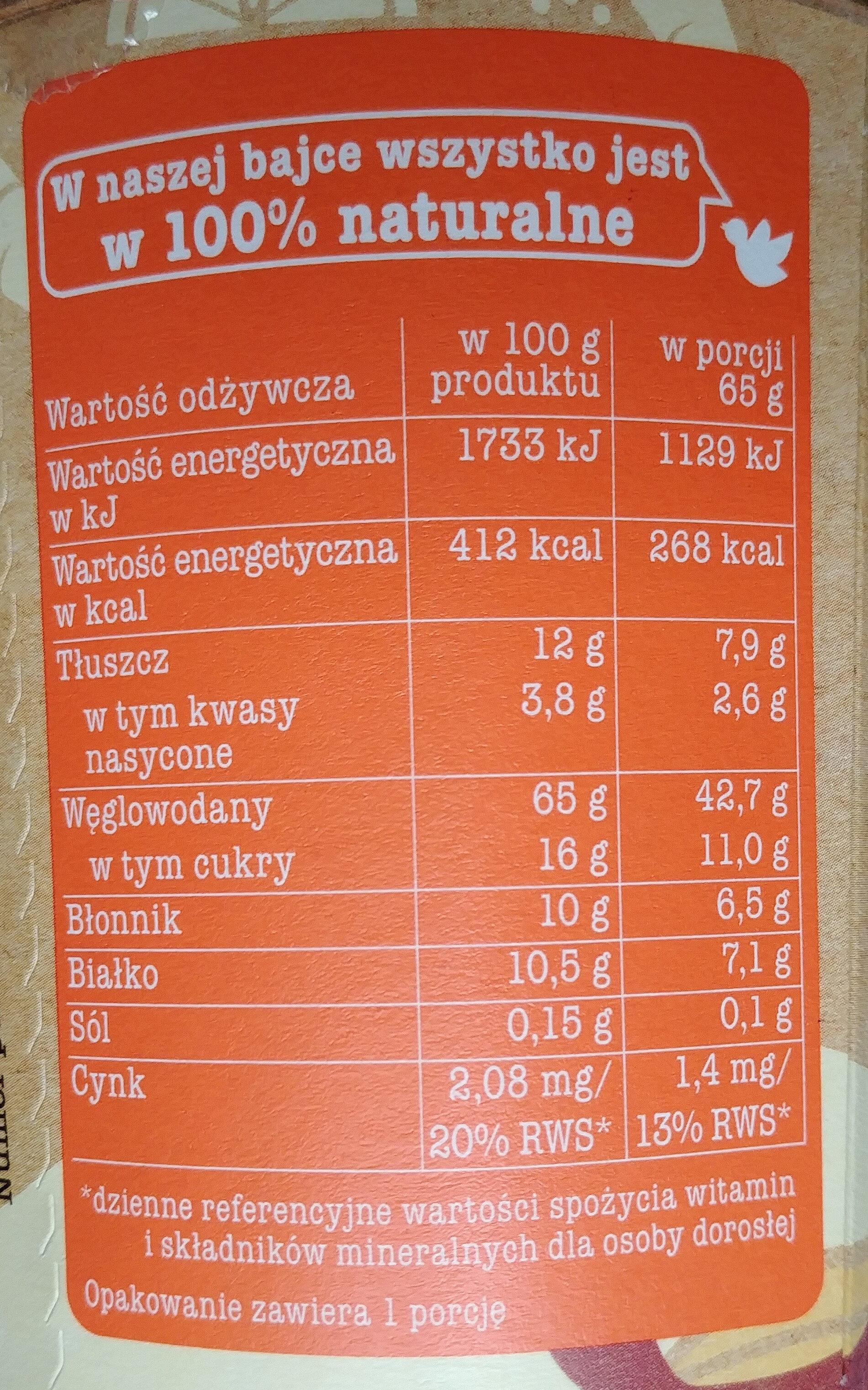 Jaglanka Marchewka i Pomarańcza - Nutrition facts