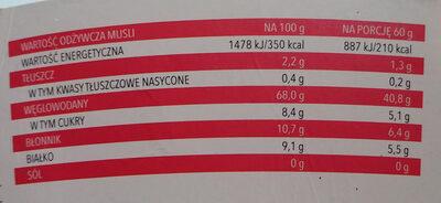 Musli z malinami i jeżynami - Wartości odżywcze