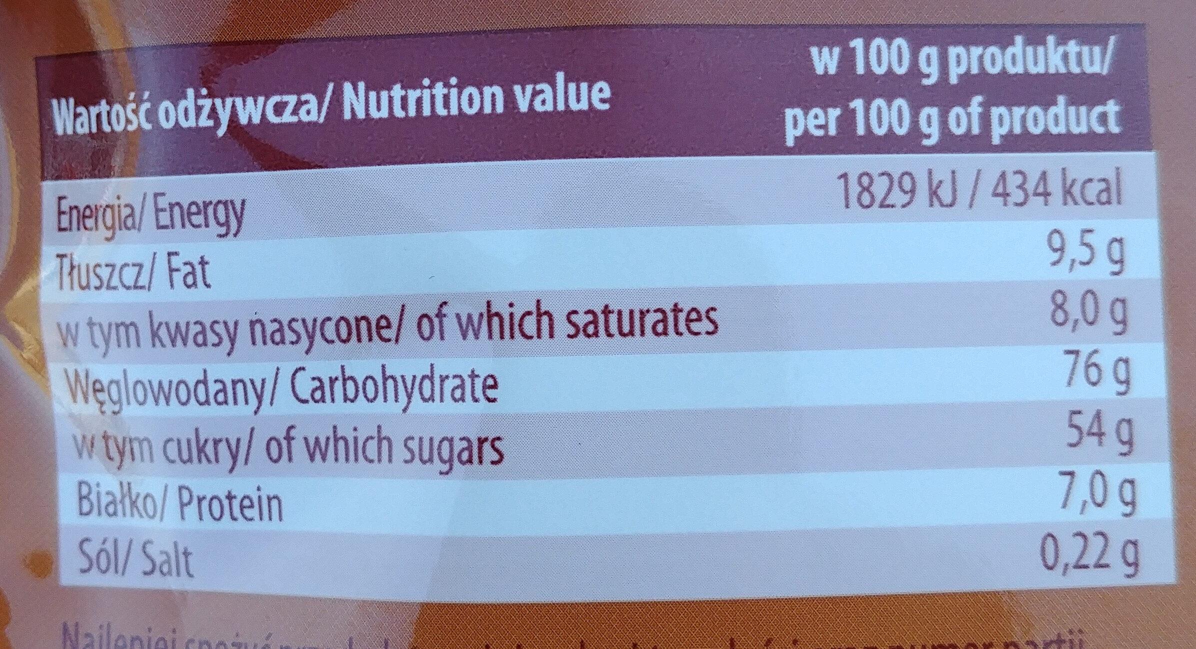 Mokate Cappuccino z belgijską czekoladą - Wartości odżywcze