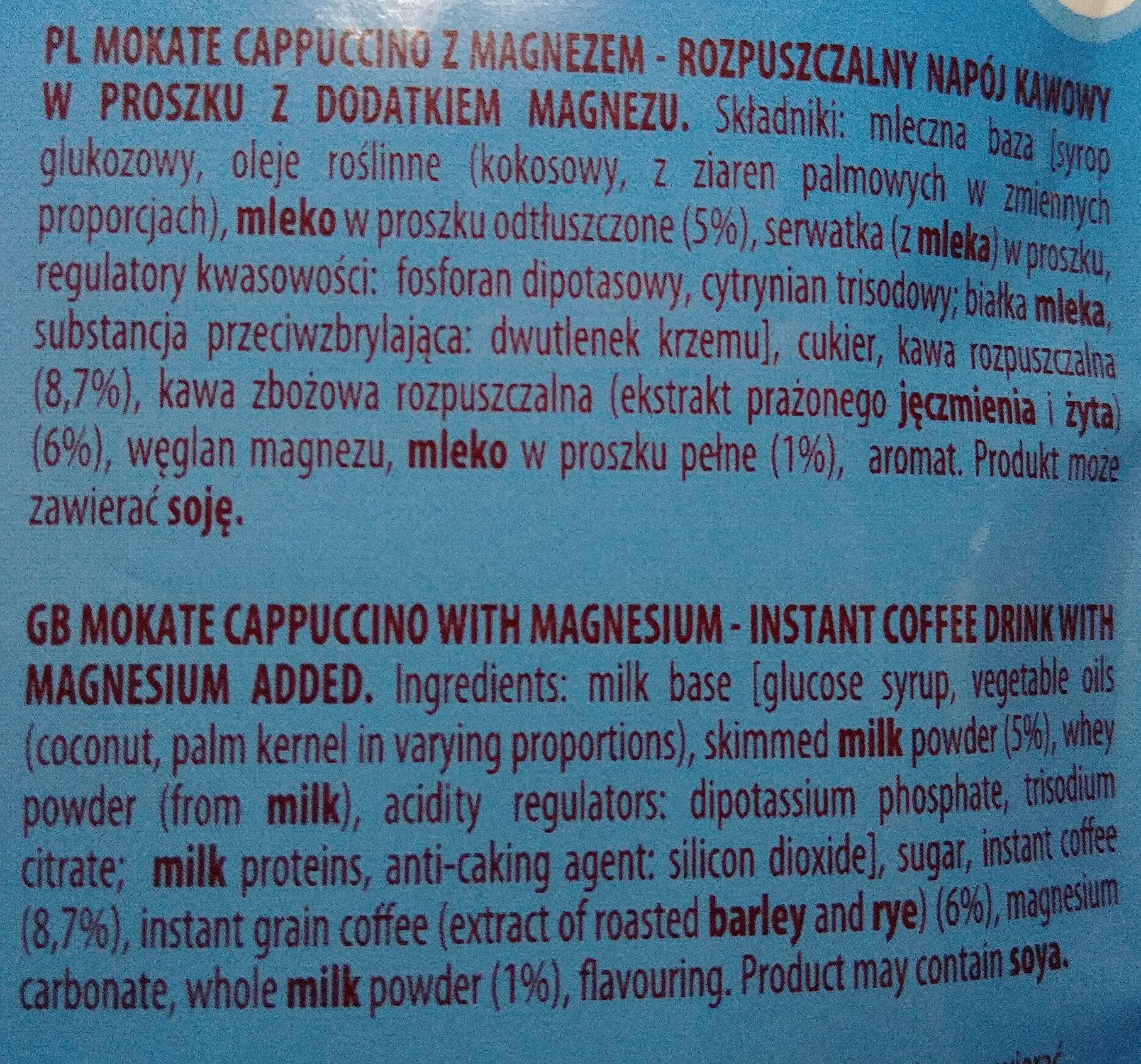 Cappuccino z magnezem - Składniki - pl