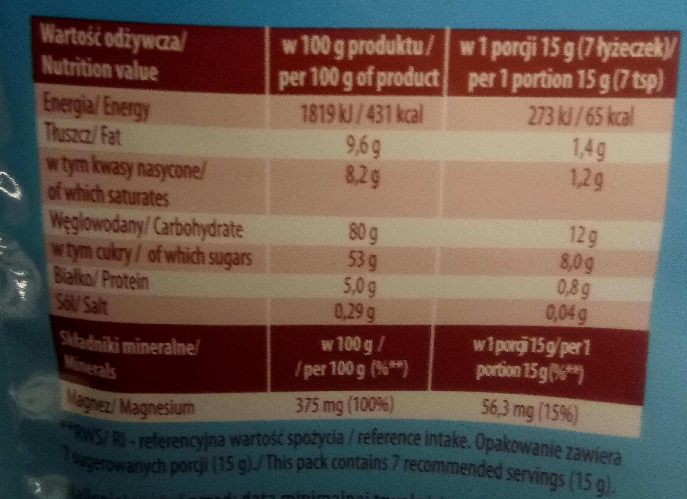 Cappuccino z magnezem - Nutrition facts - pl