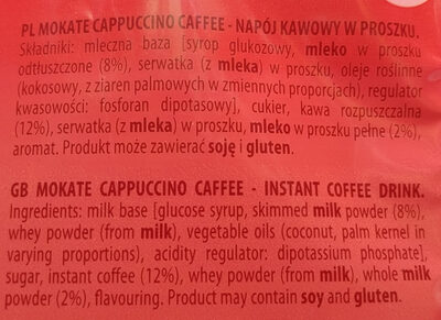Cappuccino caffee - Ingredients