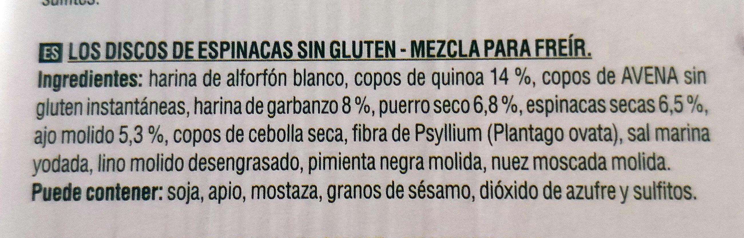 Spinach patty - Ingredientes - es