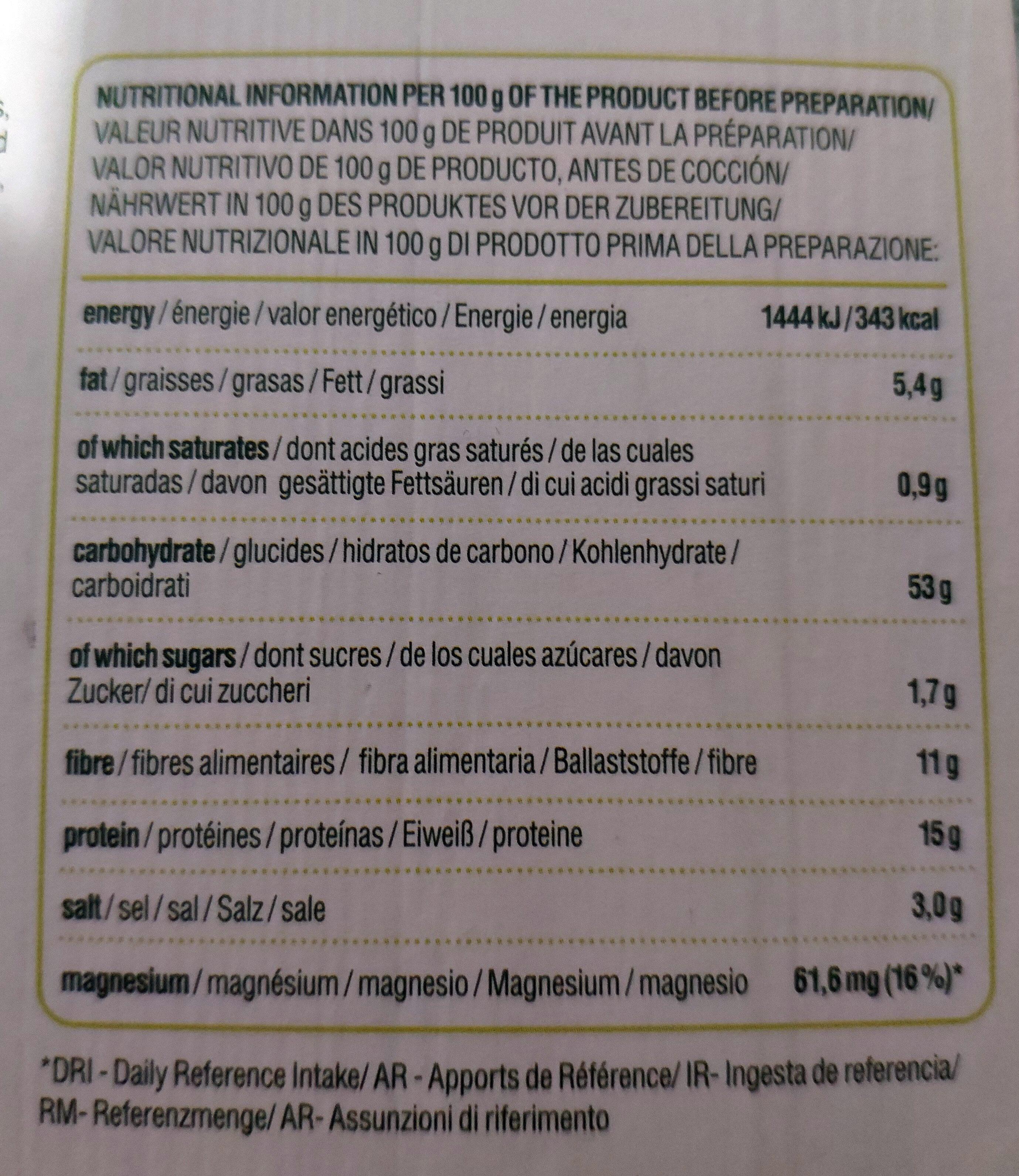 Spinach patty - Información nutricional - es