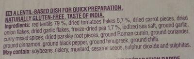Indian style meal - Ingrédients - en