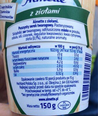 Hochland Almette Soft Cheese Herb 150G - Informations nutritionnelles - fr