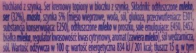 Ser kremowy topiony w bloczku z szynką - Składniki - pl