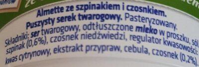 Puszysty serek twarogowy ze szpinakiem i czosnkiem. - Składniki - pl