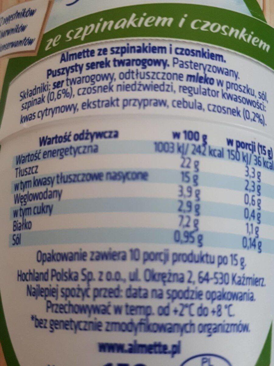 Puszysty serek twarogowy ze szpinakiem i czosnkiem. - Informations nutritionnelles - fr