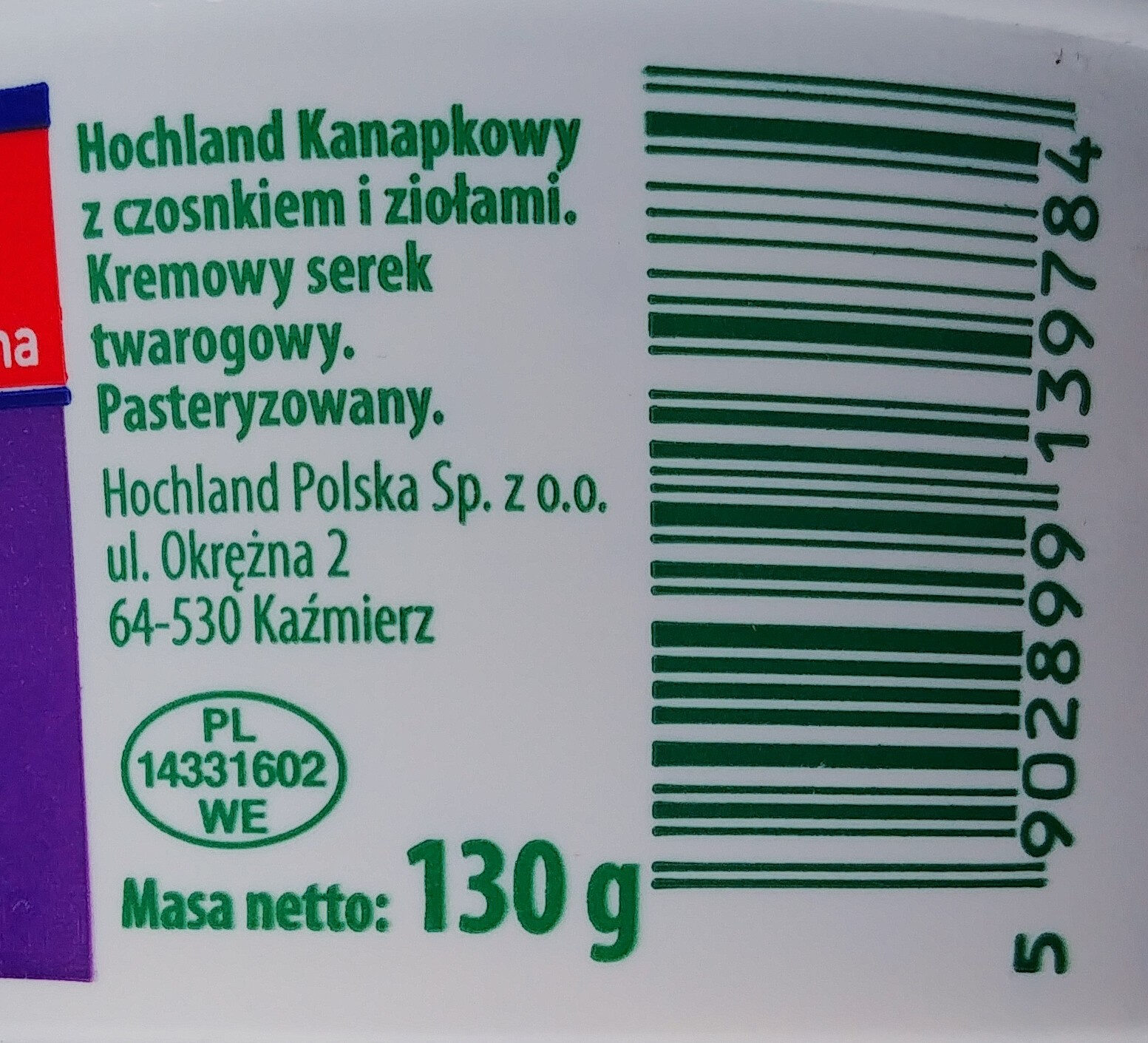 Serek twarogowy z czosnkiem i ziołami - Wartości odżywcze - pl