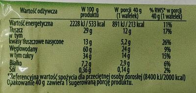 Wafelek o smaku orzechowym w czekoladzie - Informations nutritionnelles - pl