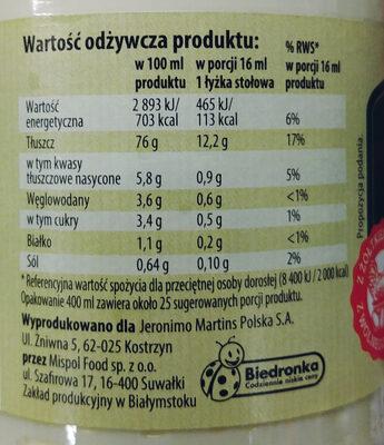 Majonez wyborny z żółtkiem z jaja kurzego z chowu z wolnego wybiegu - Informations nutritionnelles - pl