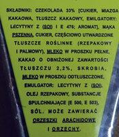 Wafelek przekładany kremem kakaowym (45%) w czekoladzie. - Składniki - pl