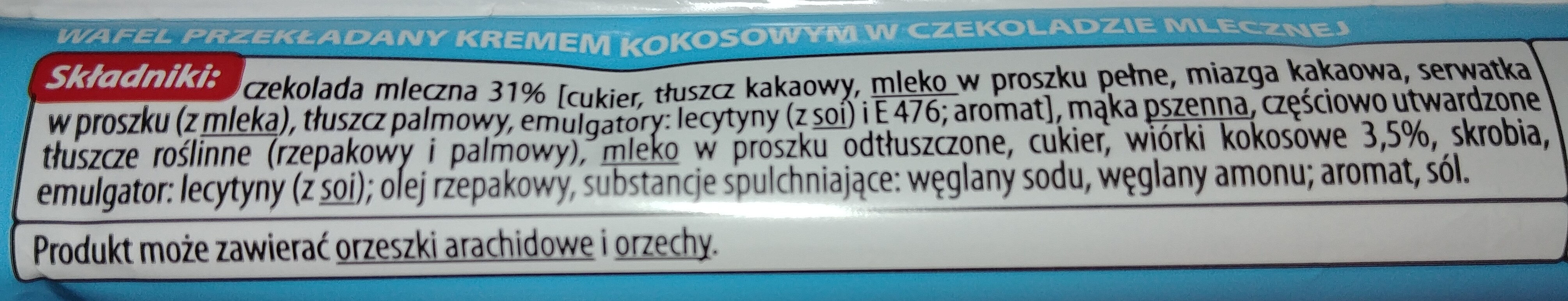 Wafel przekładany kremem kokosowym w czekoladzie mlecznej - Składniki - pl