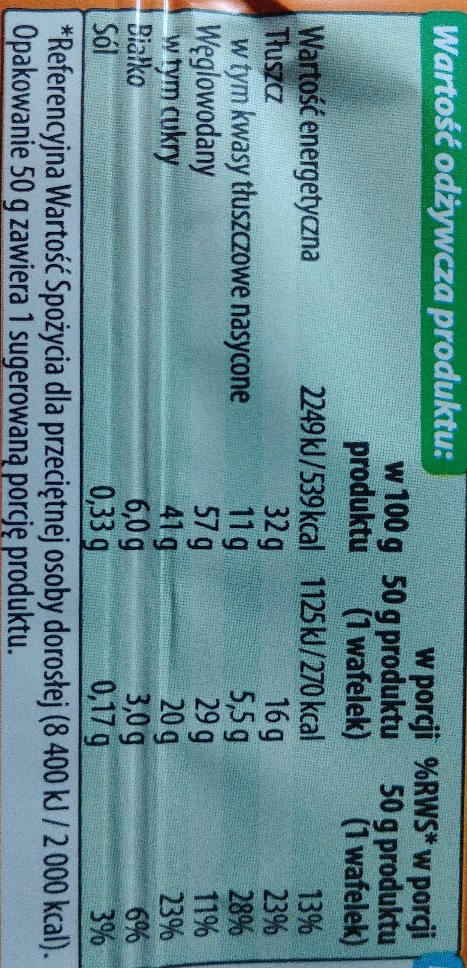 Wafel przekładany kremem o smaku toffi w czekoladzie mlecznej - Wartości odżywcze - pl