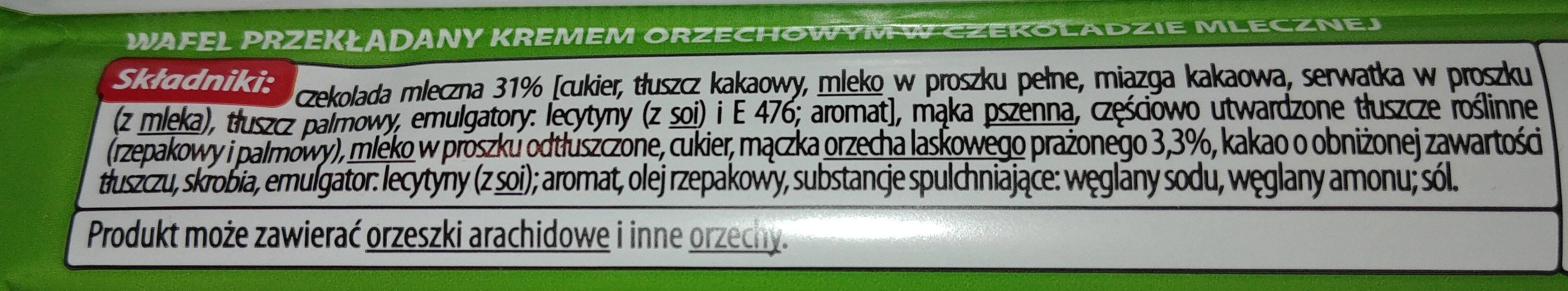 Wafel przekładany kremem orzechowym w czekoladzie mlecznej - Składniki - pl
