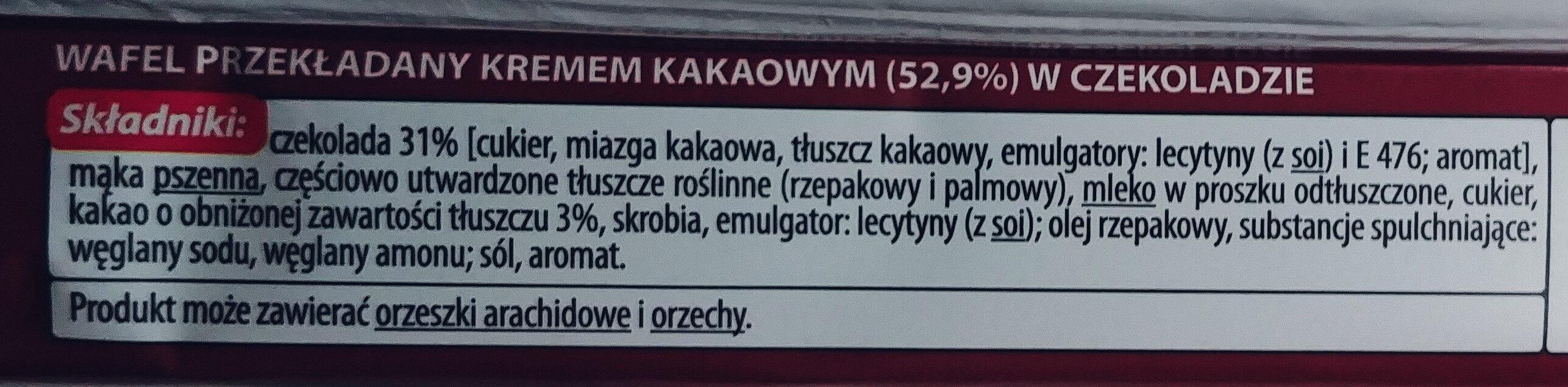 Wafel przekładany kremem kakaowym (52,9%) w czekoladzie - Składniki - pl